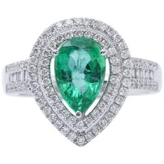 Pear Shape Emerald Diamond Gold Halo Cocktail Engagement Ring