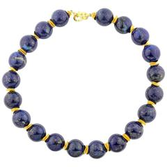 Glowing Natural Afghan Lapis Lazuli Necklace