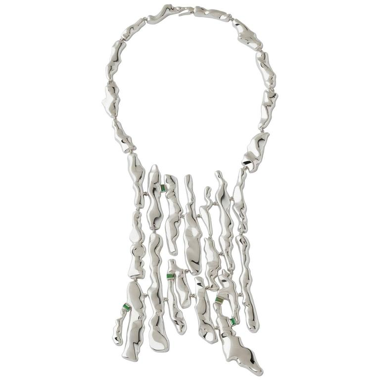 Nathalie Jean Tourmaline Sterling Silver Limited Edition Articulated Necklace