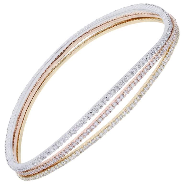5.48 Carat Diamond Tri Color Gold Wavy Bangle Bracelet
