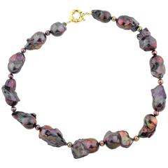 Irridescent Fireball Baroque Pearl Rainbow of Colors Necklace