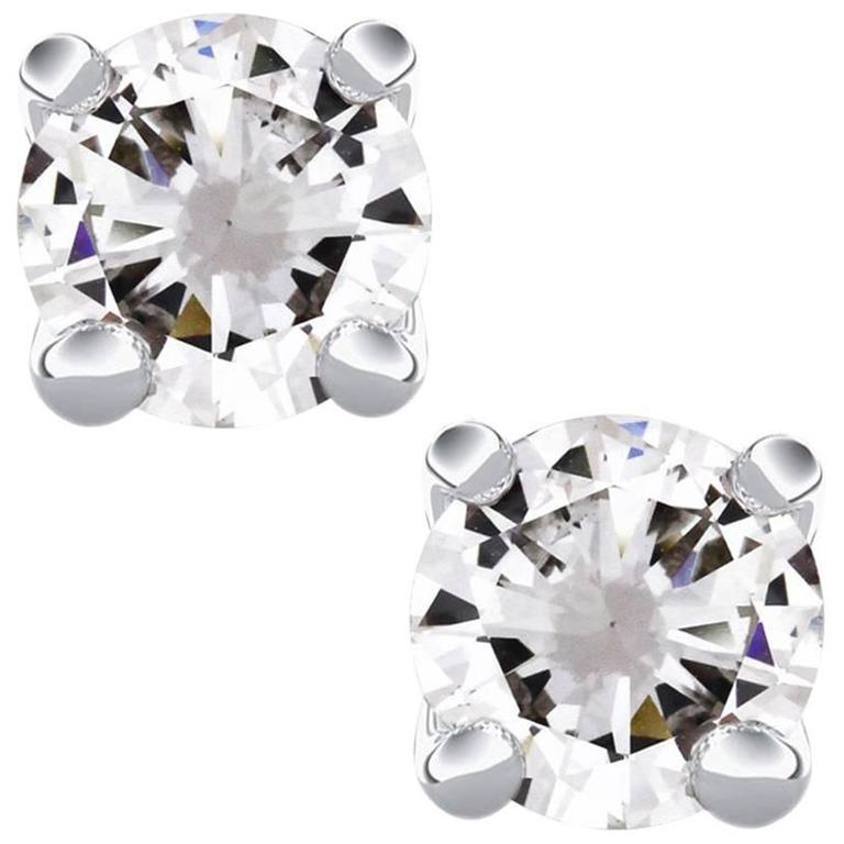 Gold 2.96 Carat Round Brilliant Diamond Stud Earrings 1