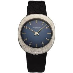 Patek Philippe Stainless Steel Blue Dial Wristwatch