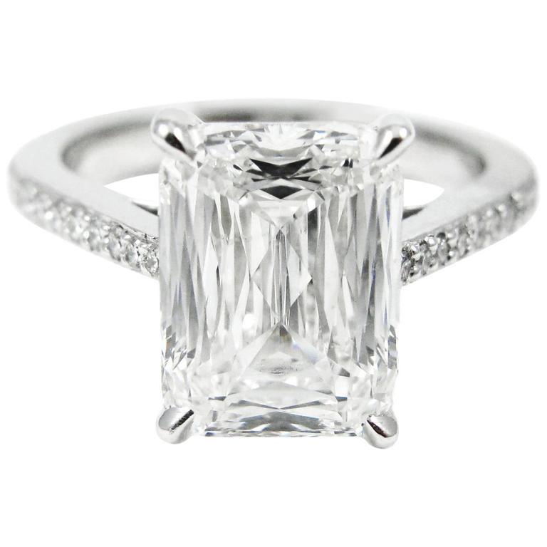 GIA Certified 3.27 Carat Crisscut Diamond Platinum Pave Engagement Ring