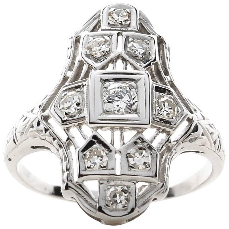 Diamond Filagree Dinner Ring