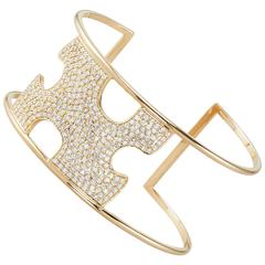 Paige Novick Missing Piece Diamond Pave 18k Yellow Gold Cuff Bracelet