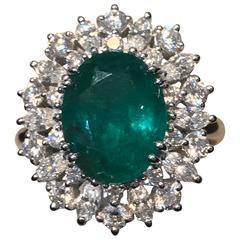 Ring Emerald Diamonds Gold Princess