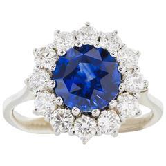 2.33 Carat Ceylon Sapphire Diamond Platinum Halo Ring