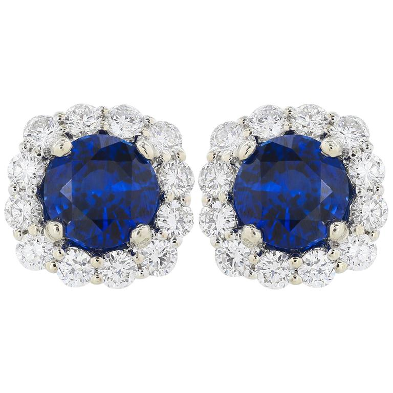 2.23 Carat Ceylon Sapphire Diamond Stud Earrings 1