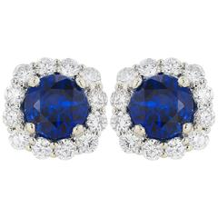 2.23 Carat Ceylon Sapphire Diamond Stud Earrings