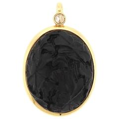 Pomellato Victoria Carved Jet Diamond Gold Pendant