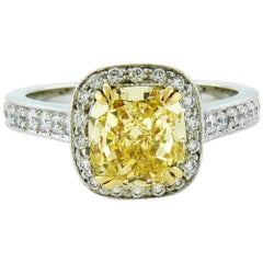 2.45 Carat Natural Fancy Intense Yellow Diamond Platinum and Yellow Gold Ring