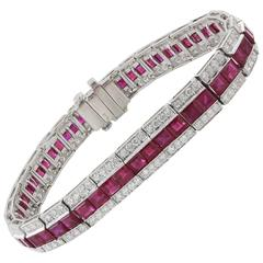 13.87 Carat Ruby and Diamond Platinum Bracelet