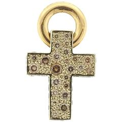 Pomellato Sabbia Gold Fancy Diamond Cross Pendant