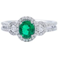 Oval Shape Emerald Diamond Gold Halo Engagement Cocktail Ring