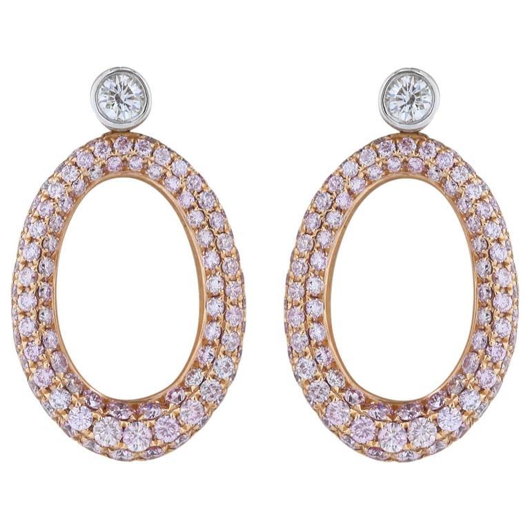 2 Carats Pink Diamonds Gold Earrings