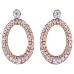 2 Carats Pink Diamonds Gold Earrings