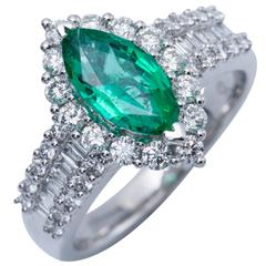 Marquise Shape Zambian Emerald Diamond Gold Cocktail Engagement Ring