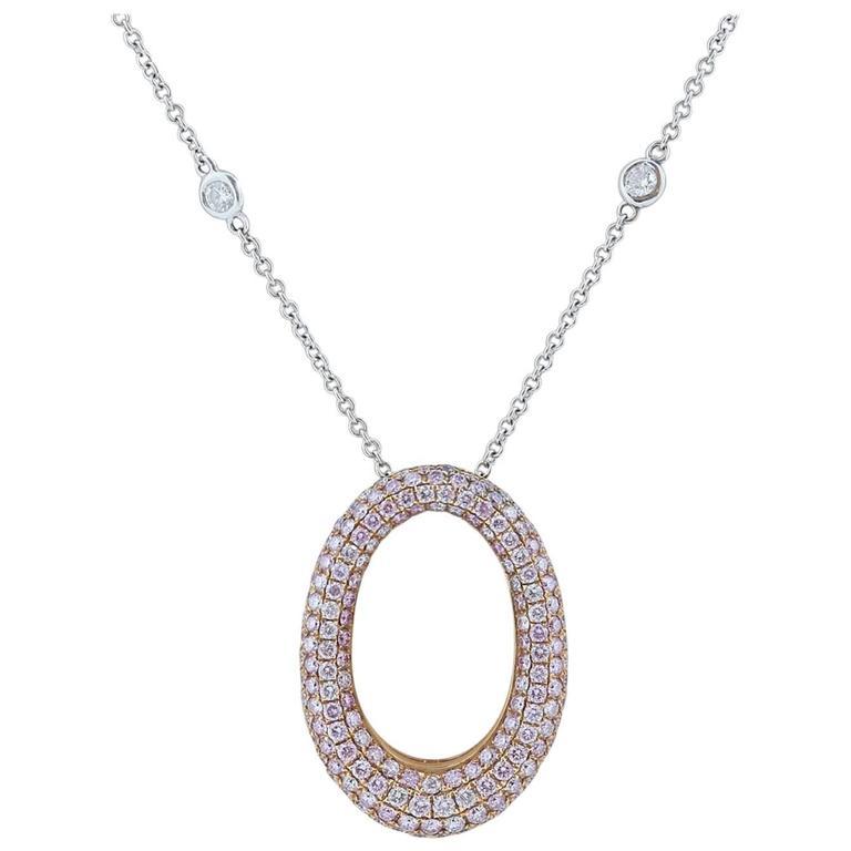2.50 Carat Pink Diamond Pave Pendant