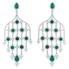 Emerald Diamond White Gold Chandelier Earrings