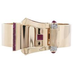 Retro 3.50 Carat Pink Ruby and .75 Diamond Buckle Bracelet