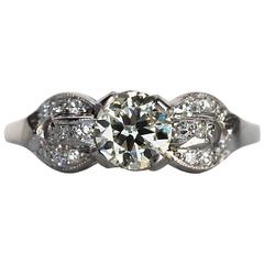 1920s Art Deco Platinum GIA Certified .58 Carat Diamond Engagement Ring