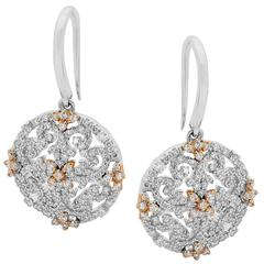 Diamonds Filigree Drop Earrings in White and Rose Gold