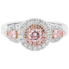 Pink White Diamond Gold Halo Three Stone Ring with Pear Shoulders