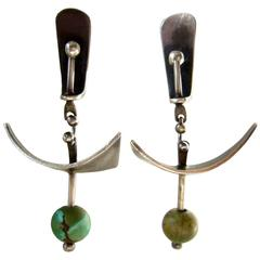 Ed Wiener Turquoise Sterling Silver Abstract Modernist Earrings