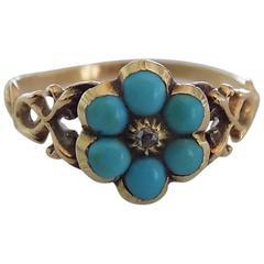 Georgian Turquoise Diamond Gold Cluster Flower Ring