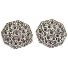 Octagonal Shaped 'Starburst' Diamond White Gold Cluster Stud Earrings