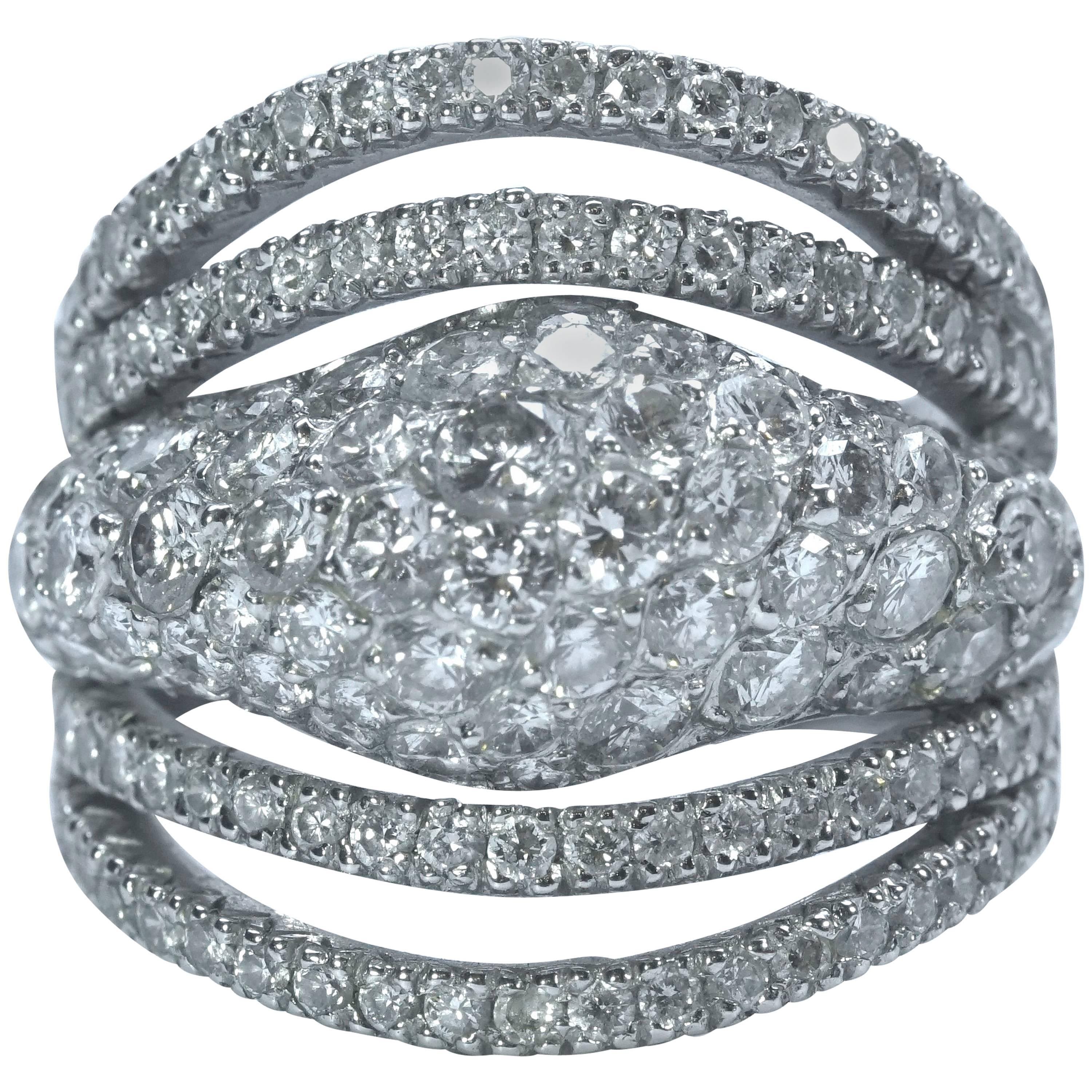 The Crown, 18 K White Gold Ring Set with Diamonds 2,80 Carats by Marion Jeantet