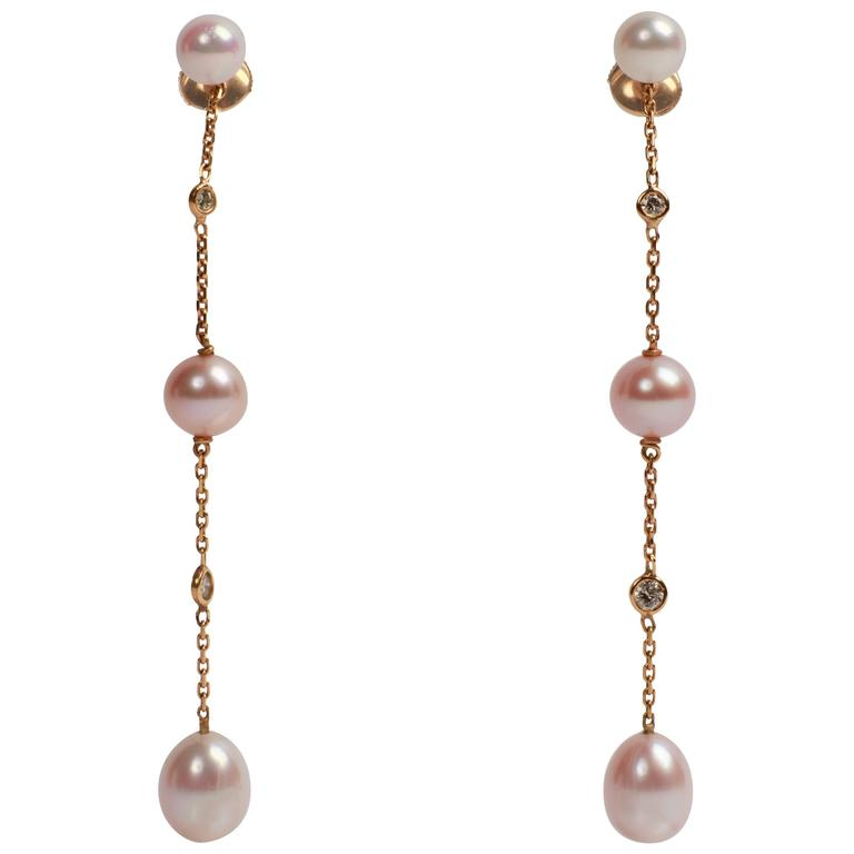 Pearls, Diamonds, 18 Karat Gold Dangle Earrings Created by Marion Jeantet