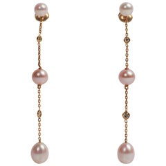 Pearls, Diamonds, 18 Karat Gold Dangle Earrings Created by Marion Jeantet