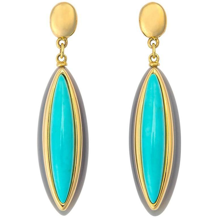 Elegant Turquoise Italian Gold Drop Earrings For