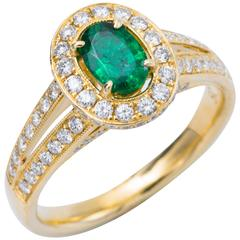 Oval Shape Emerald Diamond Engagement Cocktail Halo Ring