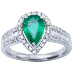 Pear Shape Emerald and Diamond Engagement Cocktail Ring