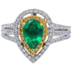 Yellow and White Gold Pear Shape Emerald and Diamond Cocktail Engagement Ring
