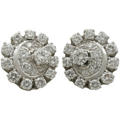 1980s 3.05 Carat Diamond White Gold and Platinum Set Cluster Earrings