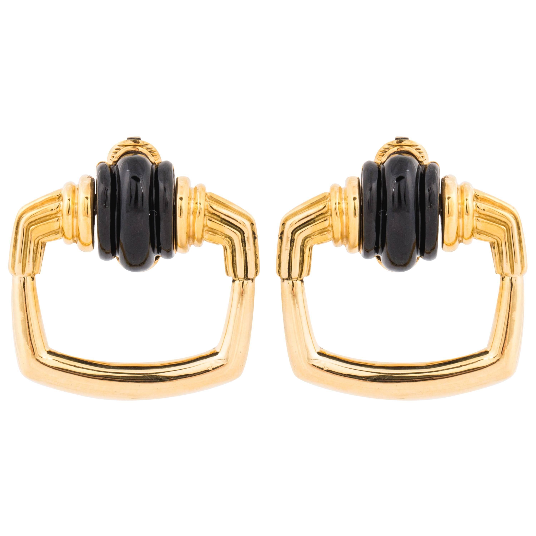 Aldo Cipullo 18K Yellow Gold Onyx Doorknocker Earrings