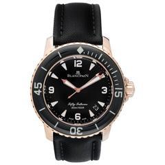 Blancpain Rose Gold Black Dial 50 Fathoms Automatic Wristwatch