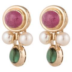 14 Karat Tourmaline Pearl Earrings