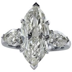 GIA Certified 5.08 Carat Marquise Cut Diamond Engagement Ring