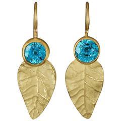 Blue Zircon Gold Leaves Earrings