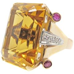 Retro Rose Gold Citrine Ruby Diamond Ring