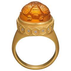 22 Karat Gold Carved Citrine Bee Ring