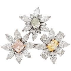Exceptional GIA Fancy Color Diamond Flower Ring
