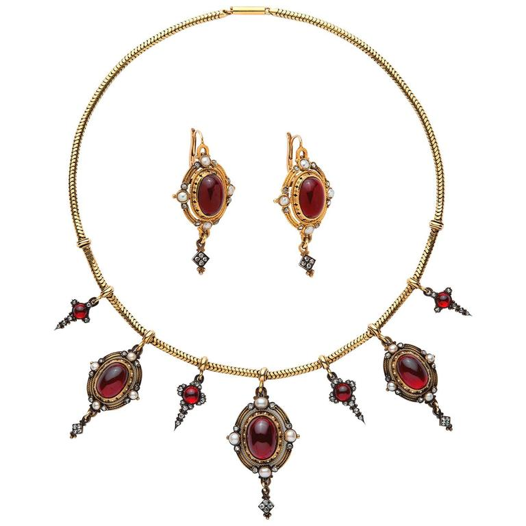 Antique Victorian Holbeinesque Garnet Pearl Diamond Necklace Earrings Set For