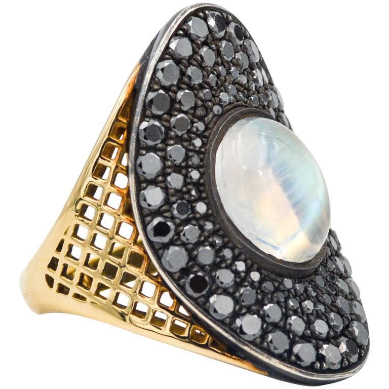 Ray Griffith Black Diamond and Moon Stone 18 Karat Yellow Gold Ring