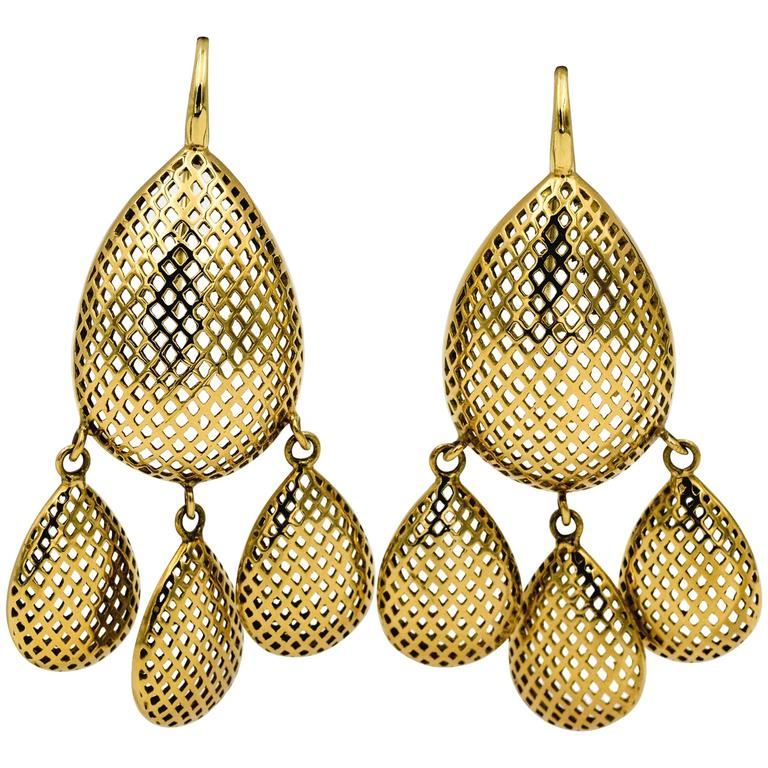 Ray Griffith 18 Kt Yellow Gold Crown Work Chandelier Eiseman  Jewels Earrings